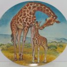 Giraffe Baby Collector Plate Kiss for Mother Wildlife Hicks Knowles Vintage