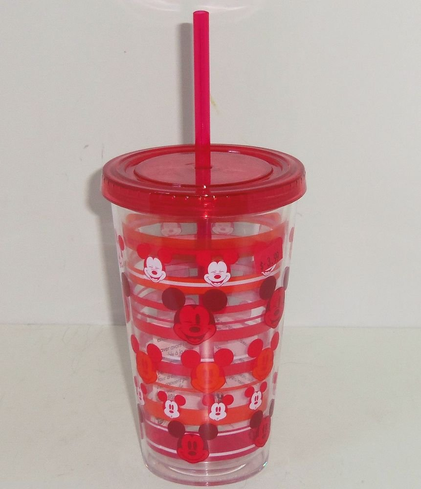 Disney Store Mickey Mouse Red Acrylic Tumbler Reusable Straw Fast Food Cup NEW