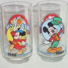 Disney Mickey Mouse 60th Birthday Glasses 1928-1988 Retired Vintage Sorcerer Lot of 2