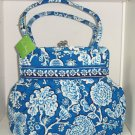 Vera Bradley Alice Blue Lagoon Kisslock Purse Blue White Shoulder Bag New