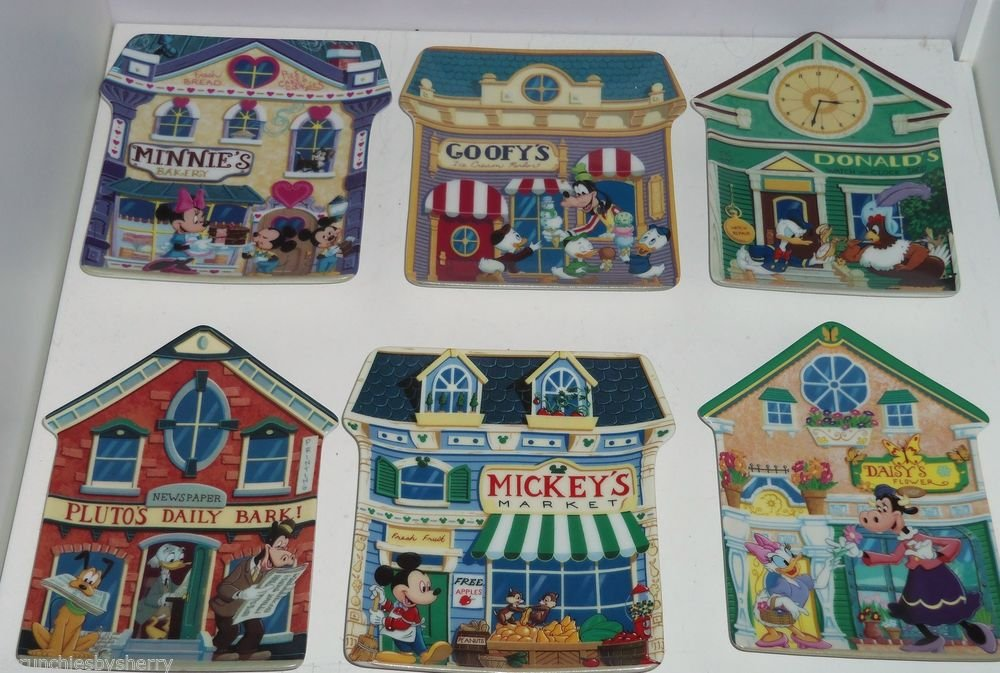 6 Disney Mickey Village Collector Plate Bradford Exchange Complete Set