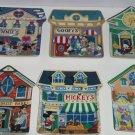 6 Disney Mickey Village Collector Plate Bradford Exchange Complete Set