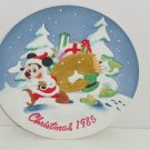 Walt Disney Productions Collector Plate Mickey Mouse Donald Duck Christmas 1985