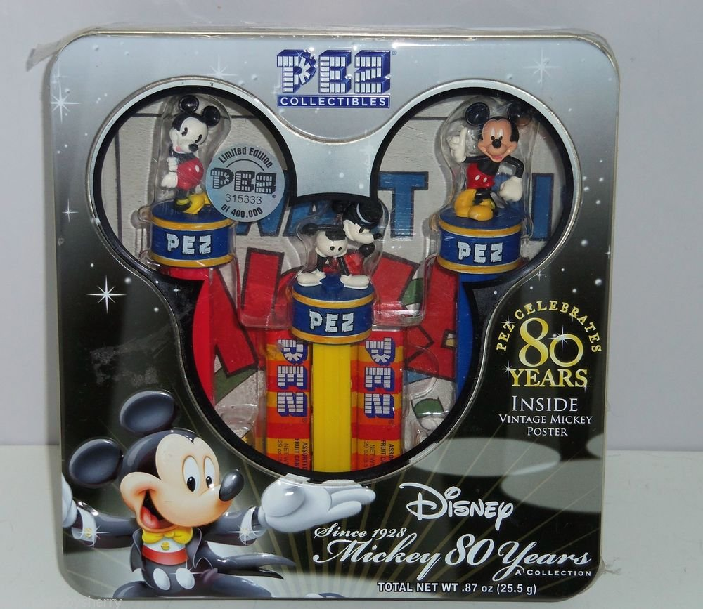 Disney Pez Celebrates 80 Years Mickey Mouse Limited Edtion Poster Tin MIB 2007