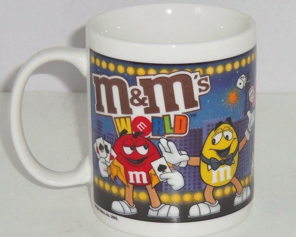 M&M M&M's World Coffee Mug Cup Candy Poker Card Show Girl Ceramic Las Vegas 2005