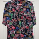 Tampa Bay Buccaneers Shirt Button Dress Casual Print Size L Black NFL Football