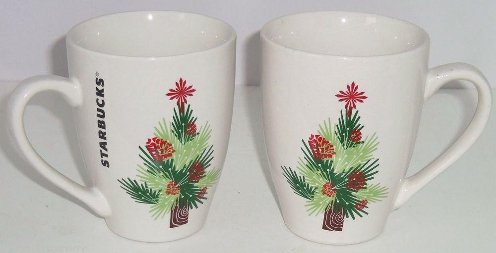 Starbucks Christmas Coffee Mug 2011 Tree Pinecones Retired Cup 16 OZS Lot of 2