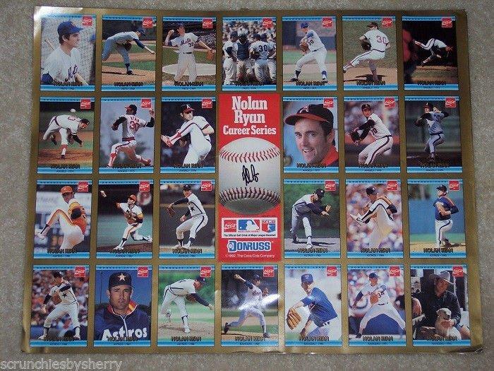 1992 Nolan Ryan Coca Cola Career Series Card Poster MLB Baseball Vintage