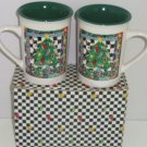 2 Christmas Tree Coffee Mugs Festive Mug Cup New