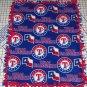 Texas Rangers Baseball Blue Red Hand Tied Fleece Baby Pet Dog Lap Blanket MLB
