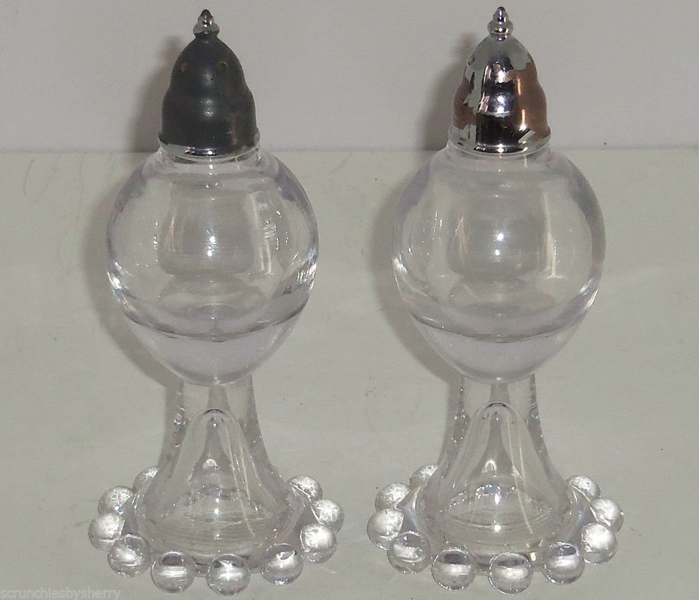 "Imperial Candlewick Salt Pepper Shakers Clear Glass 5 1/4"" Vintage"