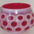 Fenton Cranberry Coin Dot Rose Bowl Vase  Opalescent Vintage Pink White
