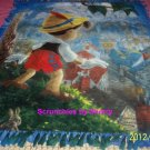 Disney Pinocchio Fleece Blanket Hand Tied Throw Thomas Kinkade Retired Print