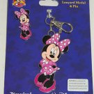 Disney Minnie Mouse Pin Lanyard Metal Trading Pins Theme Parks