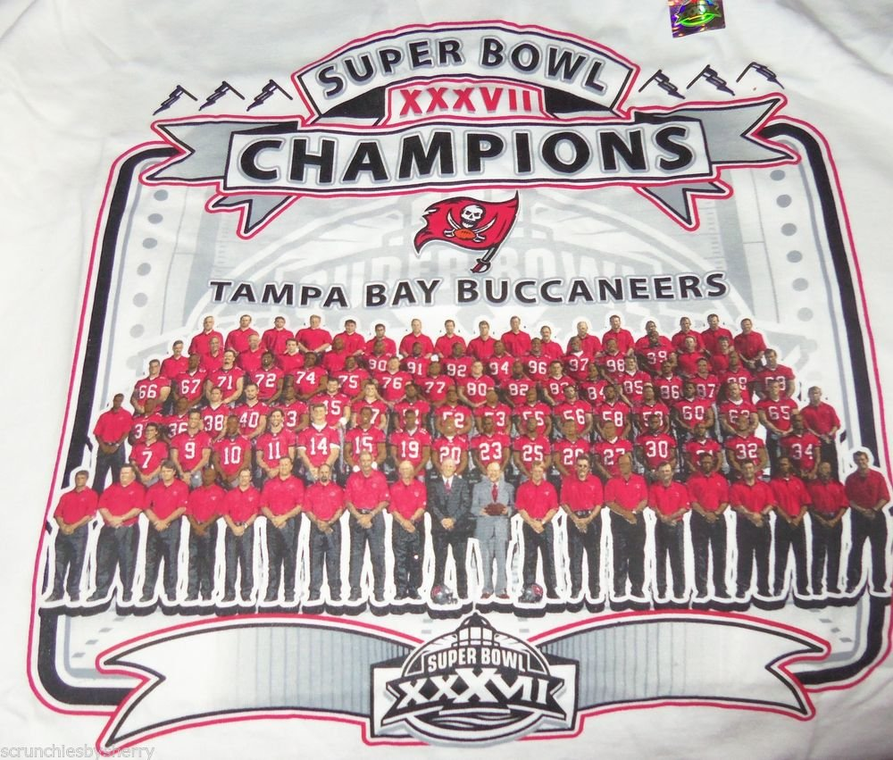 Tampa Bay Buccaneers Shirt Super Bowl 2002 Team Roster NFL John Gruden Size XL
