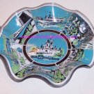 Walt Disney World Fluted Candy Dish Glass Vintage Theme Park