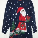 Ugly Christmas Sweater Santa Tree Teddy Bear Adele Ladies Size M Snowflakes