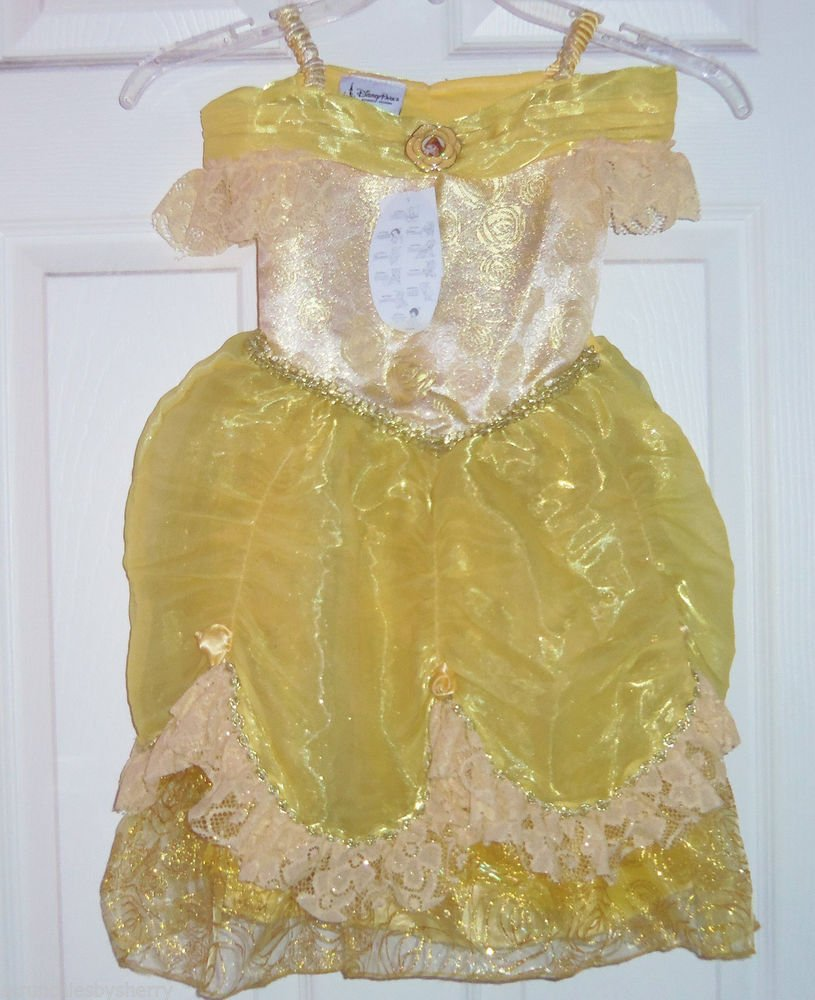 Disney Belle Dress Costume Princess Fancy  Theme Park Size XS 4-5 New