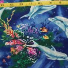 Dolphins Reef Timeless Treasures Royal Blue Sewing Craft Quilt Pillow Fabric BTY
