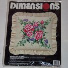 Dimensions Roses Ivy Pillow Needlepoint Crewel Pink Purple Green NIP Vintage