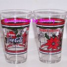 Coke Coca Cola Soda Glasses Holiday Christmas Red Poinsettia Lot of 4