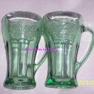 Coke Coca Cola Glass Green Collectors Steins Glasses Lot of 2