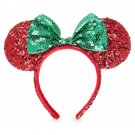 Disney Parks Minnie Mouse Headband Ears Sequins Christmas Red Green 2017