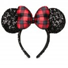 Disney Parks Minnie Mouse Christmas Headband Ears Sequins Plaid Bow 2017