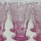 Balda Floral Etched Purple Juice Glass Depression Alexandrite Vintage Lot of 6