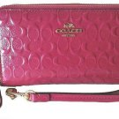 Coach Double Zip Phone Wallet Debossed Patent Leather Wristlet Cranberry Gift Bo