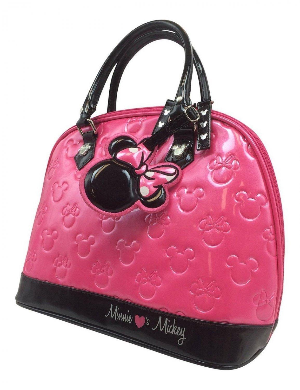 Disney Loungefly Minnie Loves Mickey Bowler Handbag Hot Pink Purse