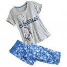 Disney Eeyore Ladies 2 Piece Pajamas PJ Set Pants Shirt Gray Blue 2016 Size S 4/6