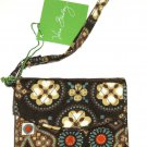Vera Bradley Canyon Super Smart Wristlet Wallet Brown Orange Gray Cell Phone New