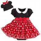 Disney Store Minnie Mouse Baby Bodysuit Costume Dress Hat with Bow 0-3 Months