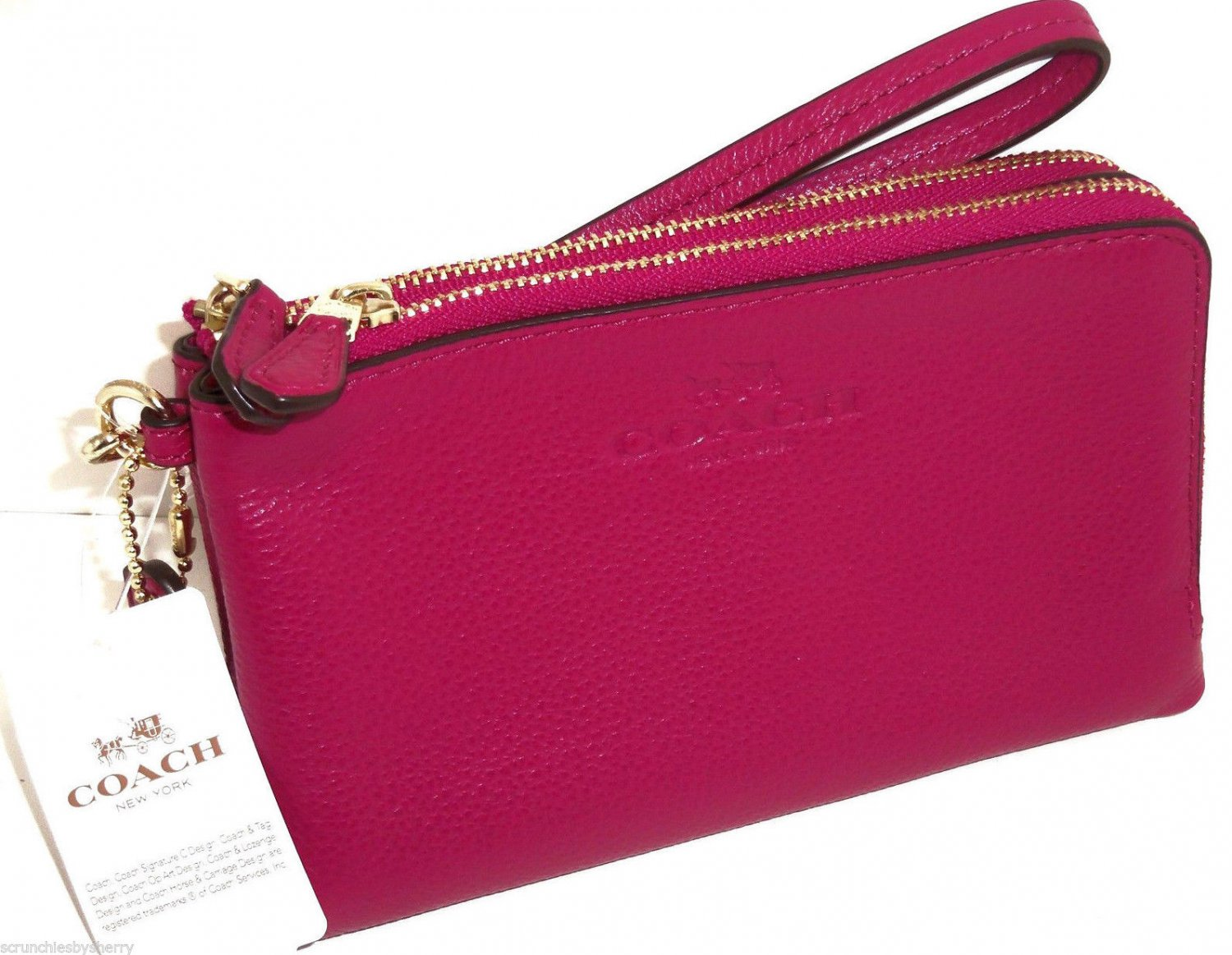 Coach Cranberry Wristlet Pebbled Leather Double Corner Zip F64130 New