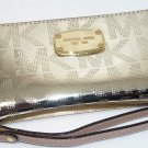 Michael Kors Large Patent-Leather Smartphone Wristlet Pale Gold New