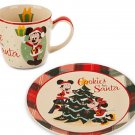 Disney Mickey Plate and Mug Cookies for Santa Ceramic Theme Parks New