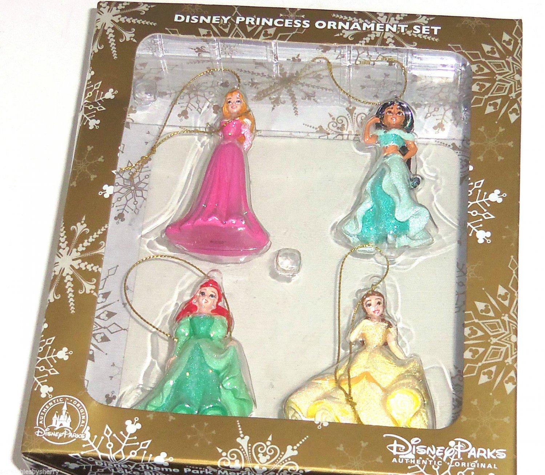 Disney Princess Ariel Belle Jasmine Aurora Beauty Ornament Set Theme Parks