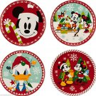 Disney Store Christmas Dessert Plates Mickey Minnie Mouse Donald Duck Melamine New