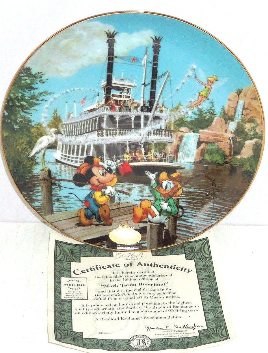Disneyland Collector Plate 40th Anniversary Mark Twain Riverboat Bradford Retire