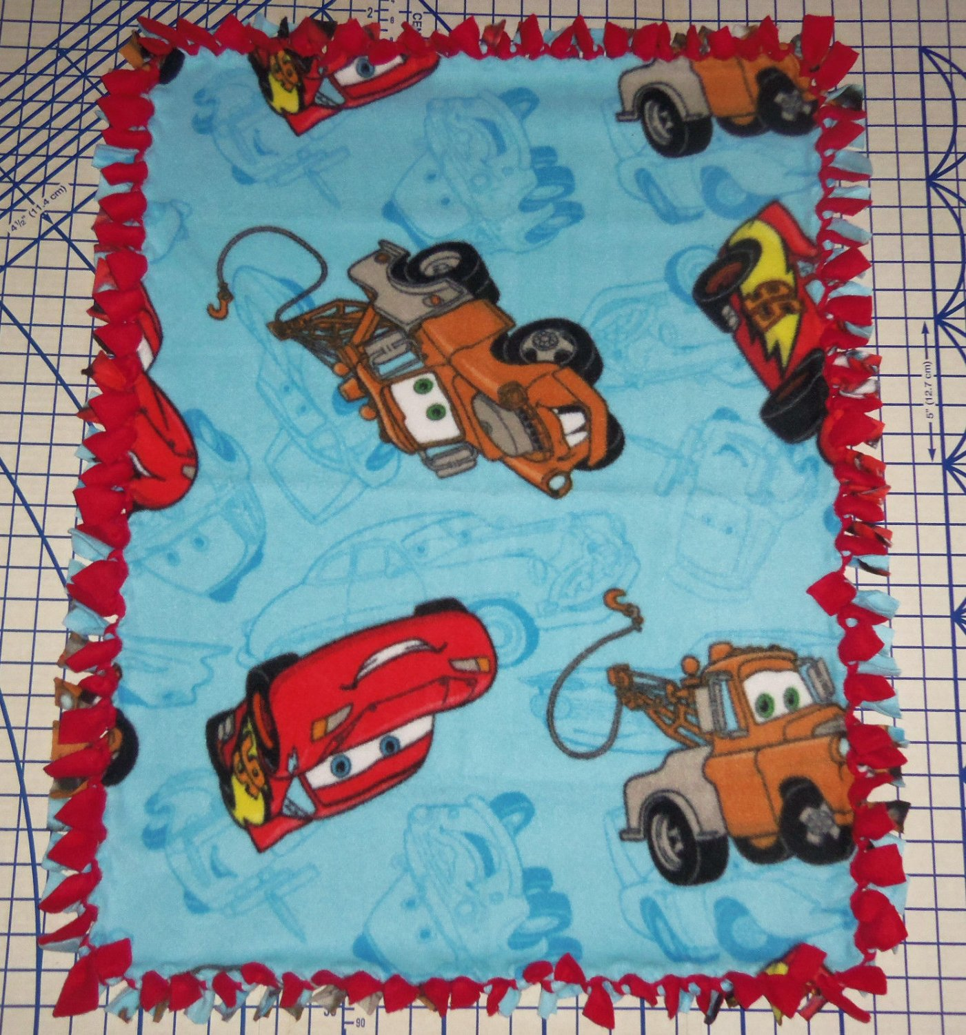 "Disney Fleece Baby Blanket  Cars Blue Pet Lap 30"" x 24""  New"