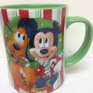 Disney Store Minnie Mickey Pluto Christmas Candy Striped Mug Share the Magic Green