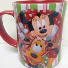 Disney Store Minnie Mickey Pluto Christmas Candy Striped Mug Share the Magic Red
