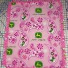 John Deere Pink Fleece Blanket Tractors Paisley Baby Pet Lap Ric Rac