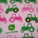 """John Deere Fleece Baby Blanket Pet Lap 30"""" x 24"""" Pink and Green Tractors"""