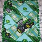 """John Deere Fleece Baby Blanket Pet Lap 30"""" x 24"""" Blue and Green Tractors"""