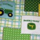 """John Deere Fleece Baby Blanket Pet Lap 30"""" x 24"""" Lil Farmer Tractors"""