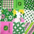 """John Deere Fleece Baby Blanket Pet Lap 30"""" x 24"""" Pink Patchwork Tractors"""