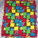 "M&M's M&M Candy Fleece Baby Blanket Pet Lap Hand Tied 30"" x 24"" Patchwork"