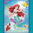 Disney Princess Ariel Blanket Little Mermaid Flounder Hand Tied Fleece Throw